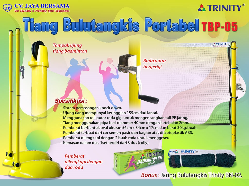 Spesifikasi Tiang Badminton Portabel TBP-05 merek Trinity sebagai berikut : – Sistem pemasangan knock down. – Ujung tiang mempunyai ketinggian 155cm dari lantai. – Menggunakan roll putar roda gigi untuk mengencangkan tali PE jaring.